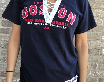 Vintage Boston Red Sox Lace-Up Tee (M)