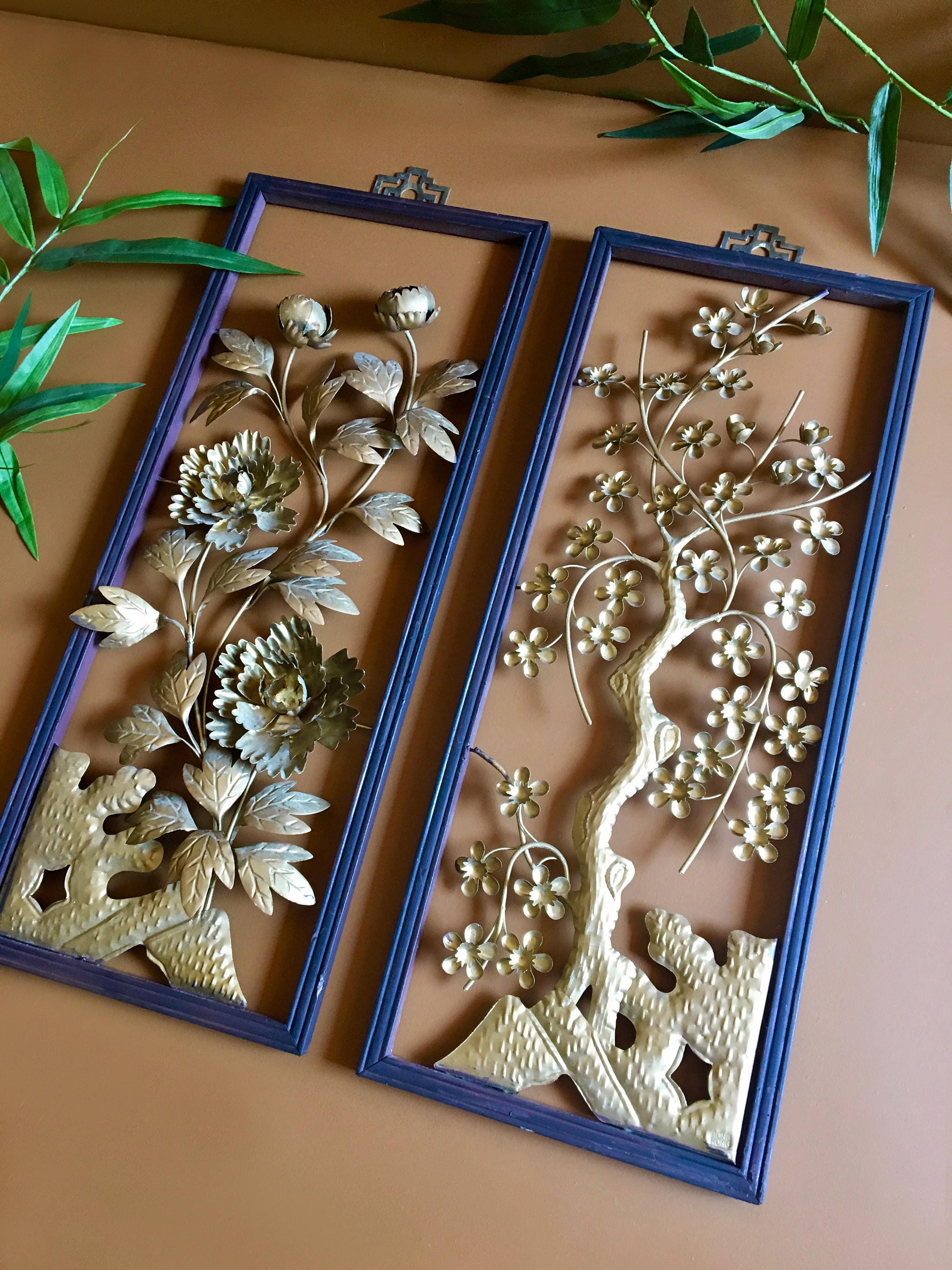 Vintage Mid Century Asian Metal And Wood Structural 3 D Wall Art Hangings    Set