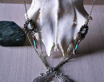 "Snow and ""Snjor"" Turquoise Rose necklace"
