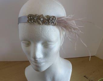 Silver great Gatsby headband,  1920s flapper headpiece putty ostrich feathers silver headband stone 1920s  daisy Buchanan costume Hallowee