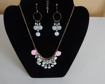 Beautiful Pink Rose Necklace Set