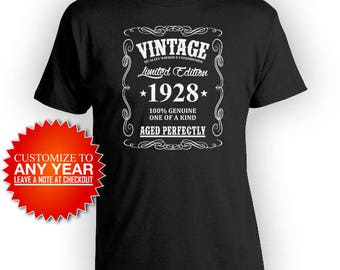 90th Birthday T Shirt Birthday Gift Ideas For Men Custom Birthday Shirt For Him Bday Present Vintage 1928 Aged Perfectly Mens Tee - BG366