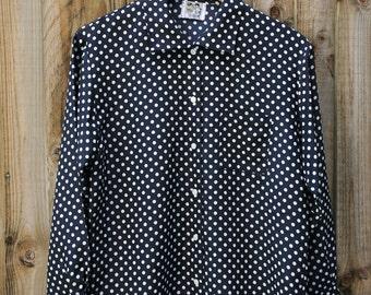 Vintage polka dot shirt Navy Blue Size Large 14-16