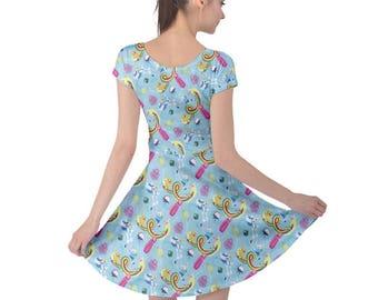 Adventure Time Short Sleeve Dress - Nerdy Dress Geeky Dress Cosplay Dress Princess Bubblegum Dress Finn Jake Ice King Lady Rainicorn