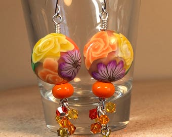 Summer Fiesta, Bright Floral earrings, Polymer Clay flowered beads, Yellow and Orange earrings, Yellow earrings for women, Handmade earrings