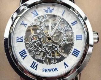 New Mens Roman Hand Winding Blue & White Skeleton Wrist Watch