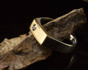 Signet ring, mens signet ring hand made of 925 sterling silver and 18 karat gold, brown cubic zirconia