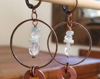 Aquamarine, amazonite, and copper earrings