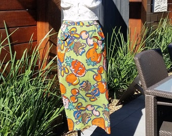 "Vintage Whimsy Fruit Print Skirt in Green by ""Topys Licensed by Natalie S."" in France"