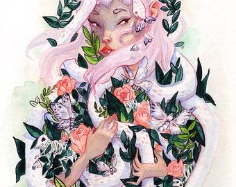 Albino Snake Familiar. Watercolor Illustration Print.