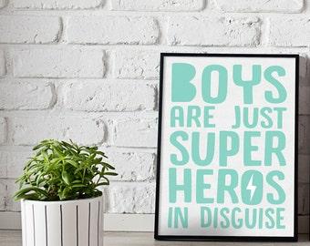Superhero print - boys print - gift for kids - boys room prints - kids room prints - hero print - custom prints - kids