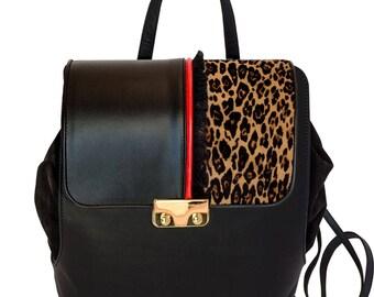 Fil Rouge Black Leather backpack-women's handmade leather bag