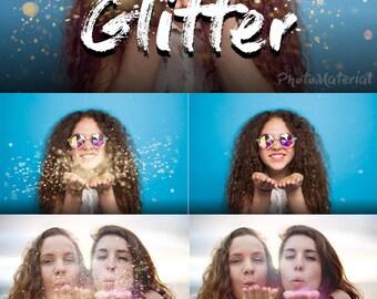 Photoshop Overlay Blowing Glitter Overlays  Sparkler overlays Photo Overlay  Confetti blow magic Weddin glitter Photography backdrop
