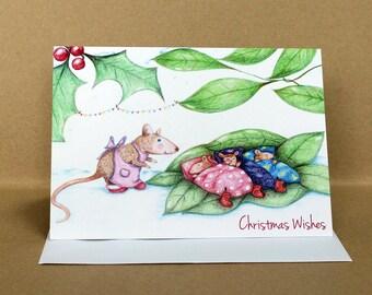 Asleep at Last Mouse Christmas Card
