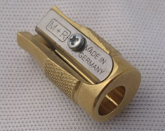 M+R POLLUX solid brass pencil sharpener for making concave pencil points