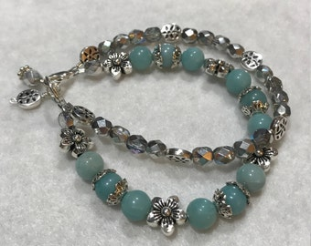 Genuine Amazonite & Czech Glass Beaded Double Strand Bracelet
