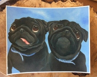 "black pug painting ""Bubble and Squeak"""