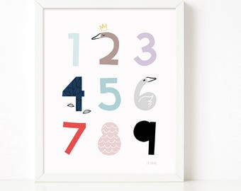Numbers Wall Art print, Numbers printable, 123 prints, Scandinavian print, nursery decor, nursery art, kids poster