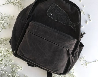 Suede Backpack Purse,Felted Backpack,Felt Whale,Gray Suede Backpack,Handmade Bag,Gift,Whale Backpack,Backpack,Gray Backpack,Whale Purse,Felt