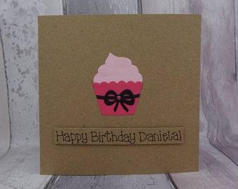 Cupcake birthday card, Handmade Happy Birthday card, Personalised Birthday card with name, Birthday card with pun, Funny birthday card
