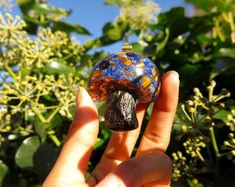 Lapiz Lazuli ~ Tiger Eye Mushroom Orgone Pendant®