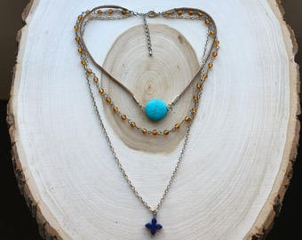Three Layered Necklace with Suede Detail, Bohemian Jewelry