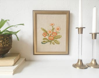 Vintage Framed Floral Crewel Embroidery Artwork + Pink and Green Wildflowers + Retro Wall Art + Handmade