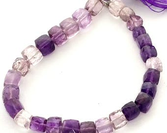 """AMETHYST shaded faceted cube shaped beads,box beads,nice quality amethyst,--- 6 mm -- 8 mm  8"""" strand,[E1351]very good quality"""