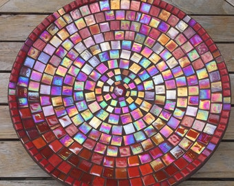 Iridescent glass Mosaic-Mosaic scale-Ruby Red-Dutsch Design-handmade-mother of Pearl-fruit bowl