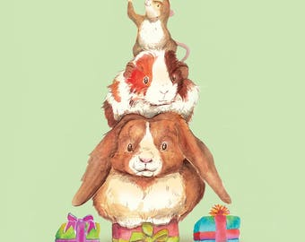 Christmas Card (Rabbit, Guinea Pig and Mouse)