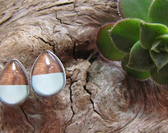 Earrings cabochon teardrop shaped 10 x 14 mm, faux wood and light blue stainless steel, stainless steel