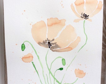 Original Watercolor Poppy Flowers Painting hand-painted, poppies painting, wall decor, flowers art, gift for her, art flowers