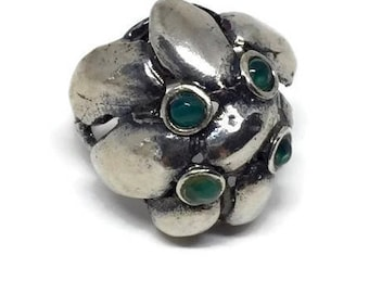 Brutalist Sterling Silver Aventurine Ring Made in Israel Size 8 1/4