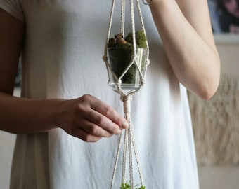 Double Plant Holder - Succulent Hanger - Rope Hanging Planter - Macrame Plant Holder - Hanging Planter - Rope Pot Holder - Macrame Planter