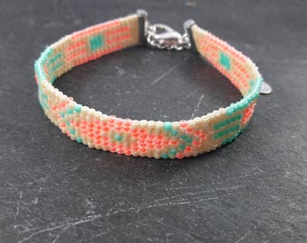Turquoise and pink pearl bracelet