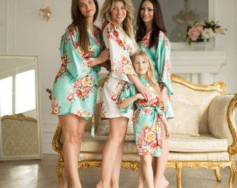 Bridesmaid Robes-Set of Bridesmaid Robes -Floral Bridesmaid Robes-Bridal Robe-Wedding Robes-Kimono Robe-MULTI ORDER DISCOUNT