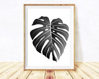 Palm Leaf Print, Monstera Leaf, Palm Leaves Poster, Printable Tropical Palm Leaf Wall Art Print, Black White Tropical Print,Instant Download