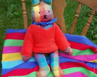 Handmade Stanley bunny rabbit, cloth bunny, cloth rabbit, toy rabbit, cuddly rabbit, soft toy rabbit , toy bunny, miniature toy