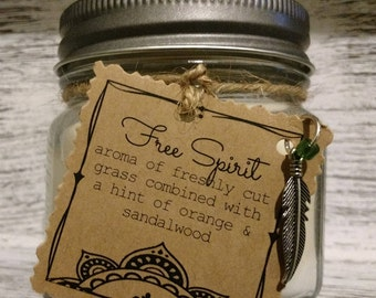 Free Spirit Scented Handmade Natural Soy Candle With Wood Wick