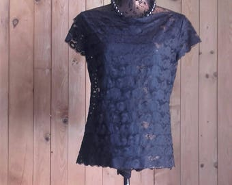 Black Lace TOP made with small strips sewn to each other