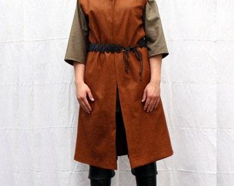 Brown wool LARP medieval coat - S-L