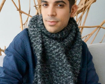 Scarf for Him | Hand knitted With Chunky 100% Peruvian Wool Yarn