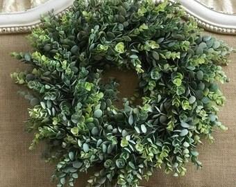 Wedding Wreath, Boxwood Wreath, Eucalyptus Wreath, Farmhouse Wreath, Everyday Wreath