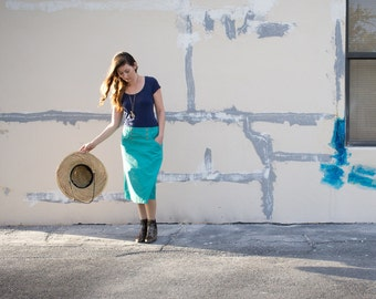 70's Turquoise Sailor Skirt by Lady Manhattan