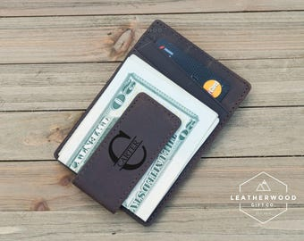 Leather Money Clip, Personalized Leather Money Clip, Money Clip, Gifts for Dad, RFID Money Clip, Mens Leather Wallet, Gifts for Him