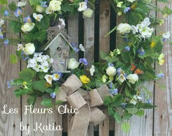 Wreaths With Birdhouse, Front Door Wreath, Spring Wreath, Summer Wreath, Country Cottage Wreath, Country Wedding Wreath, Front Door Wreath