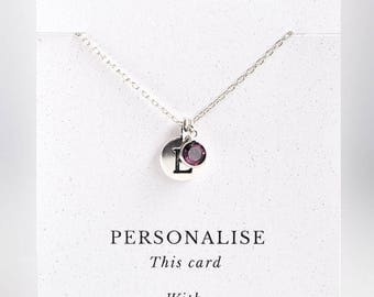 February Birthstone Necklace, Amethyst Necklace, Personalised February Birthstone Necklace, Amethyst, Personalised Necklace, Birthday Gift