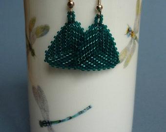 Triangular Teal glass seed bead earrings