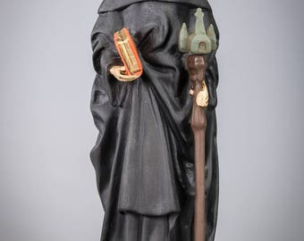 "RARE Stunning 14"" Antique Plaster Statue of Saint Trudo Torn Trond Trudon"