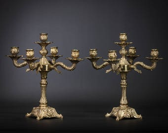 "13"" Stunning Pair of Vintage Gilded Bronze 5 tier Arms Candelabras Candle Holders"